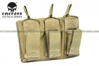 EMERSON 5.56 & Pistol Triple Open Top Magazine Pouch (Tan) EM6363-TAN