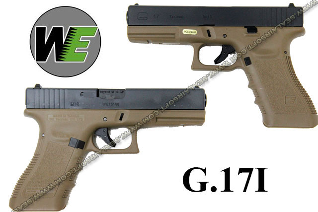 WE G17 Rail Steel Silde GBB Pistol (Dark Earth) - WE-GBB-G17-DE
